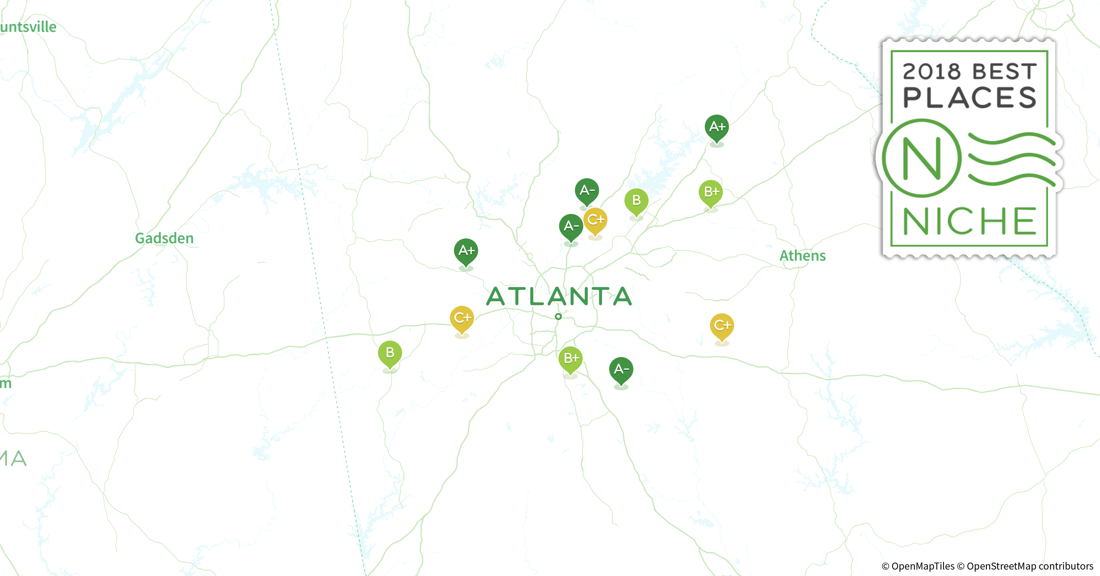 2018 best atlanta area suburbs to buy a house niche