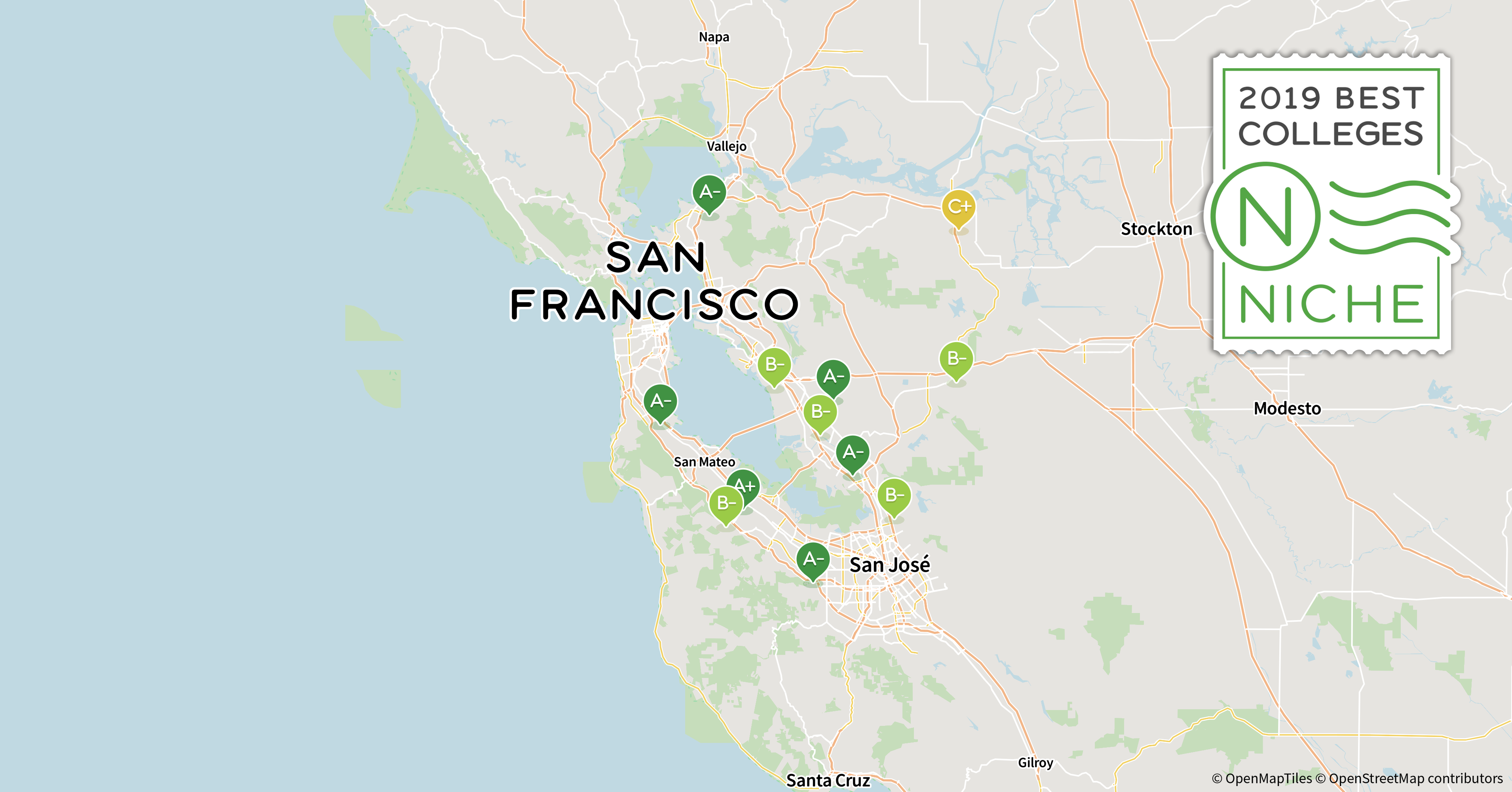 2019 Top Graduate Programs in the San Francisco Bay Area - Niche San Jose City College Map on sac city college campus map, downtown san jose map, tustin high school map, san jose unified school district map, san jose state university map, simpson university map, cadence san jose campus map, san jose traffic map, la city college campus map, emma prusch farm park map, city college of san francisco map, colleges in utah map, blossom valley map, east san jose map, san jose mcenery convention center map, grove city college campus map, evergreen college map, mt. san jacinto college map, san jose zip map,