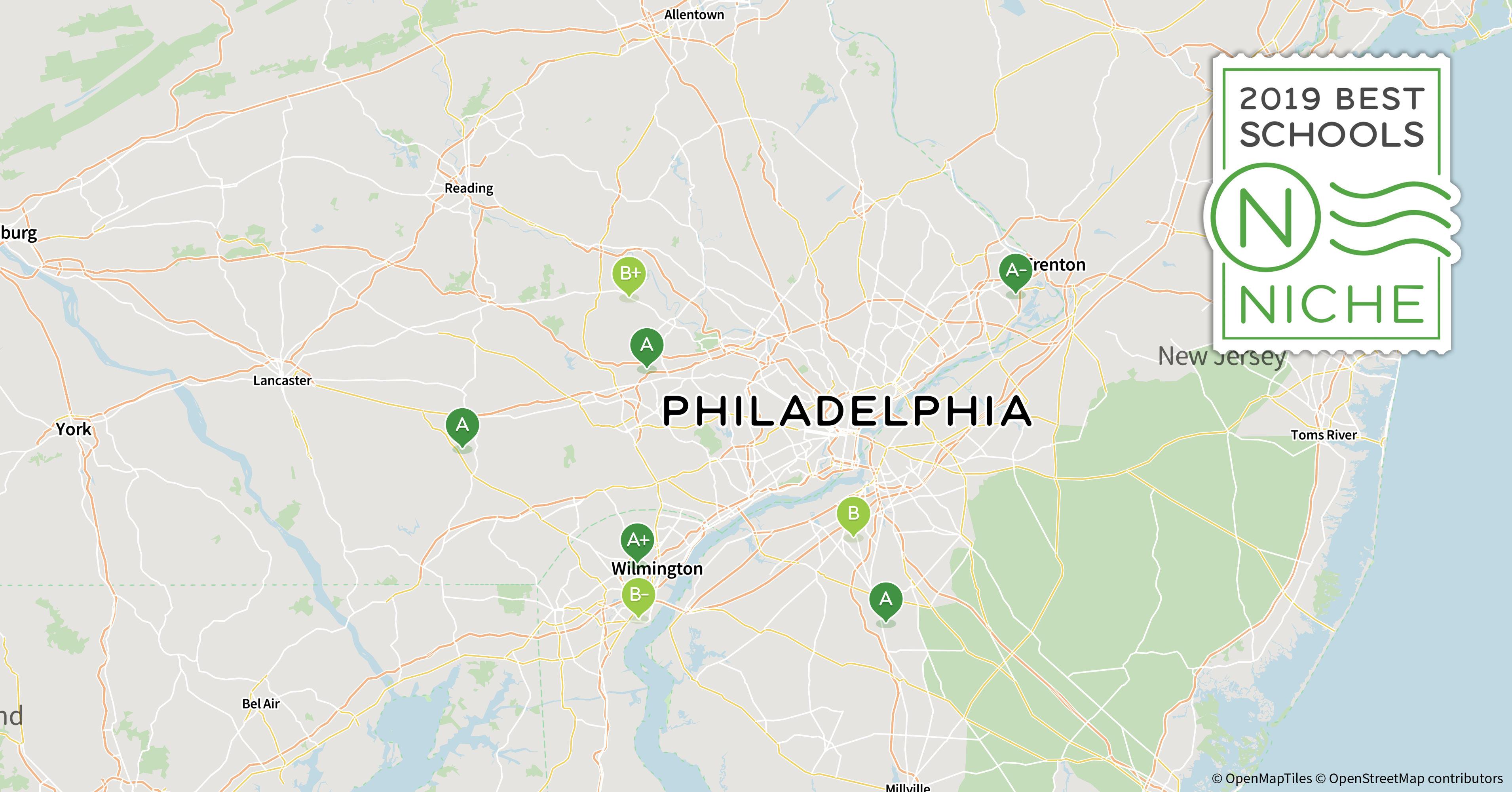 Best School Districts In The Philadelphia Area Niche - Map of philadelphia area and suburbs