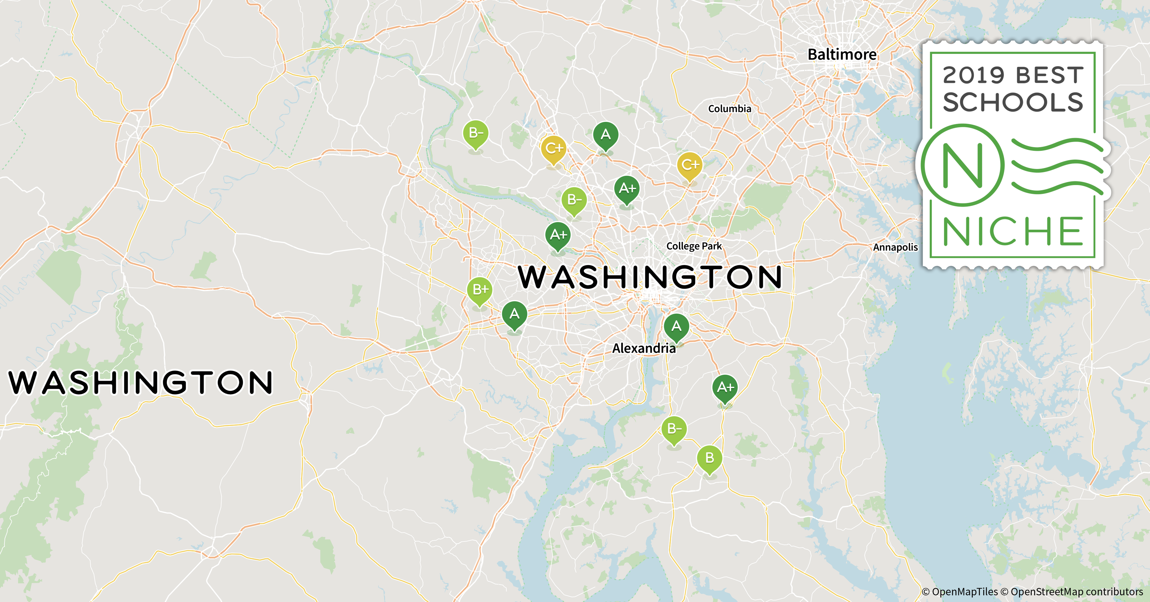 2019 Best Districts in the Washington, D.C. Area - Niche Dc Districts Map on