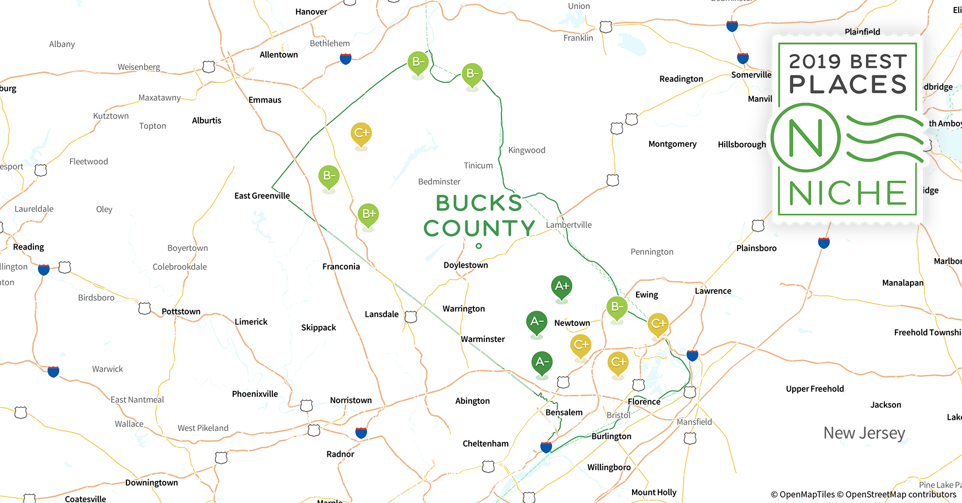 2019 Safe Places to Live in Bucks County, PA - Niche Zip Codes Map Of Philadelphia Bucks on map of delaware and philadelphia, map of delaware pa and nj, map of philadelphia street, map of philadelphia county, map of philadelphia congressional districts, map of philadelphia city, ponte vedra zip code, map of philadelphia area, map of philadelphia school district, map of philadelphia neighborhood, map of philadelphia state,