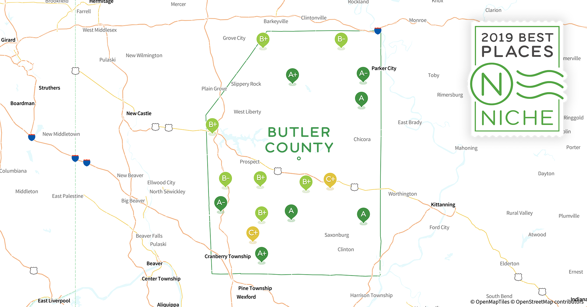 2019 Best Places to Live in Butler County, PA - Niche Zilenople Map Of Pennsylvania Counties And Cities on
