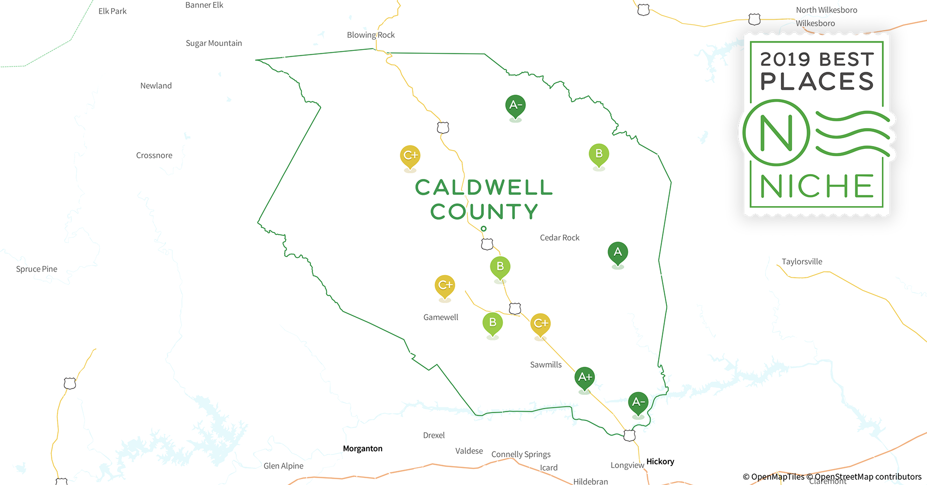 2019 Safe Places to Live in Caldwell County, NC - Niche Caldwell County Nc Map on