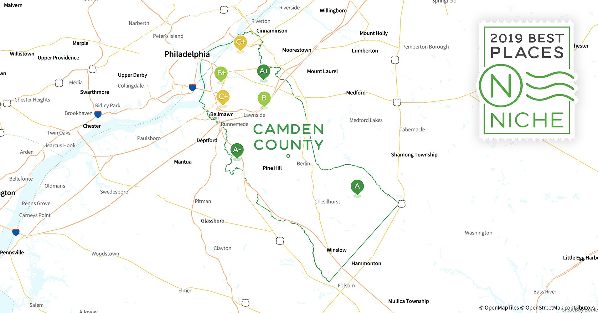 2019 Safe Places to Live in Camden County, NJ - Niche Camden County College Map on