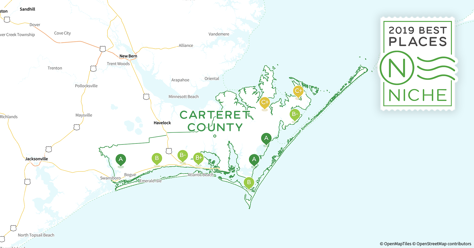 2019 Best Places to Live in Carteret County, NC - Niche Map Of Carteret County Nc on