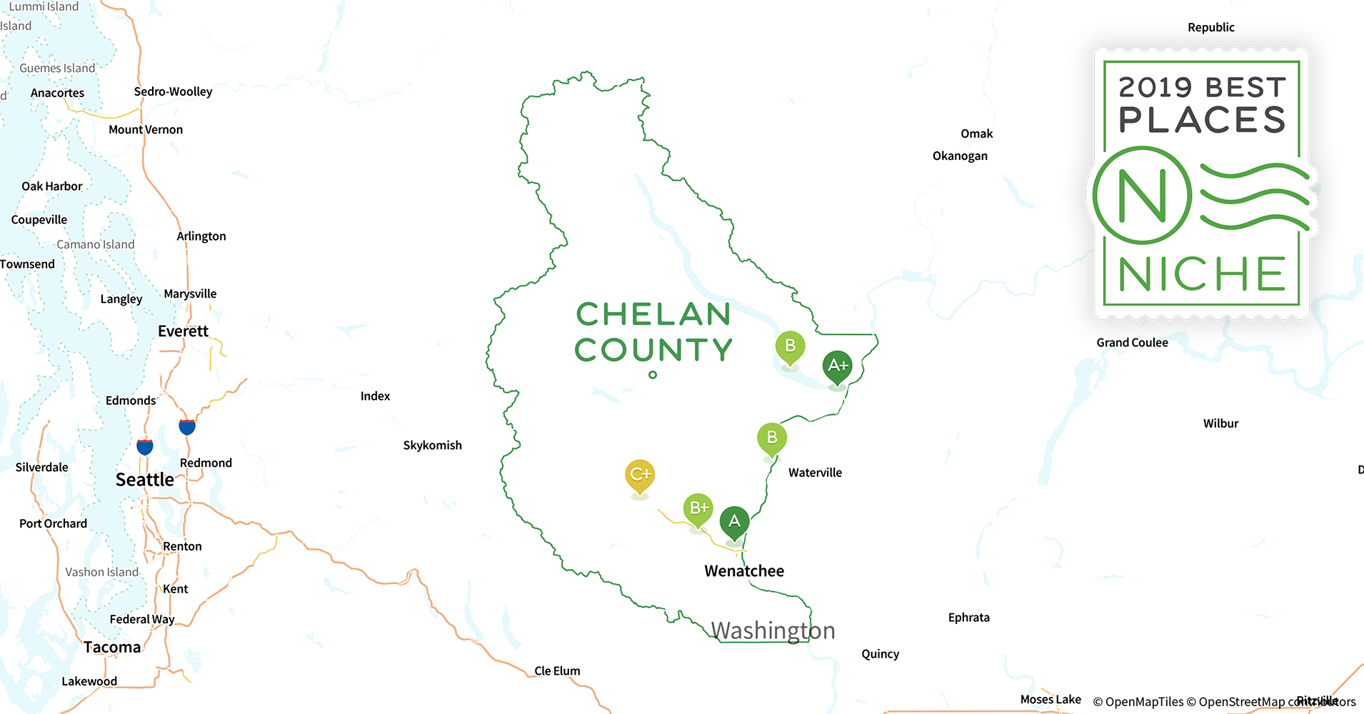 2019 Best Places to Live in Chelan County, WA - Niche Chelan Washington Map on