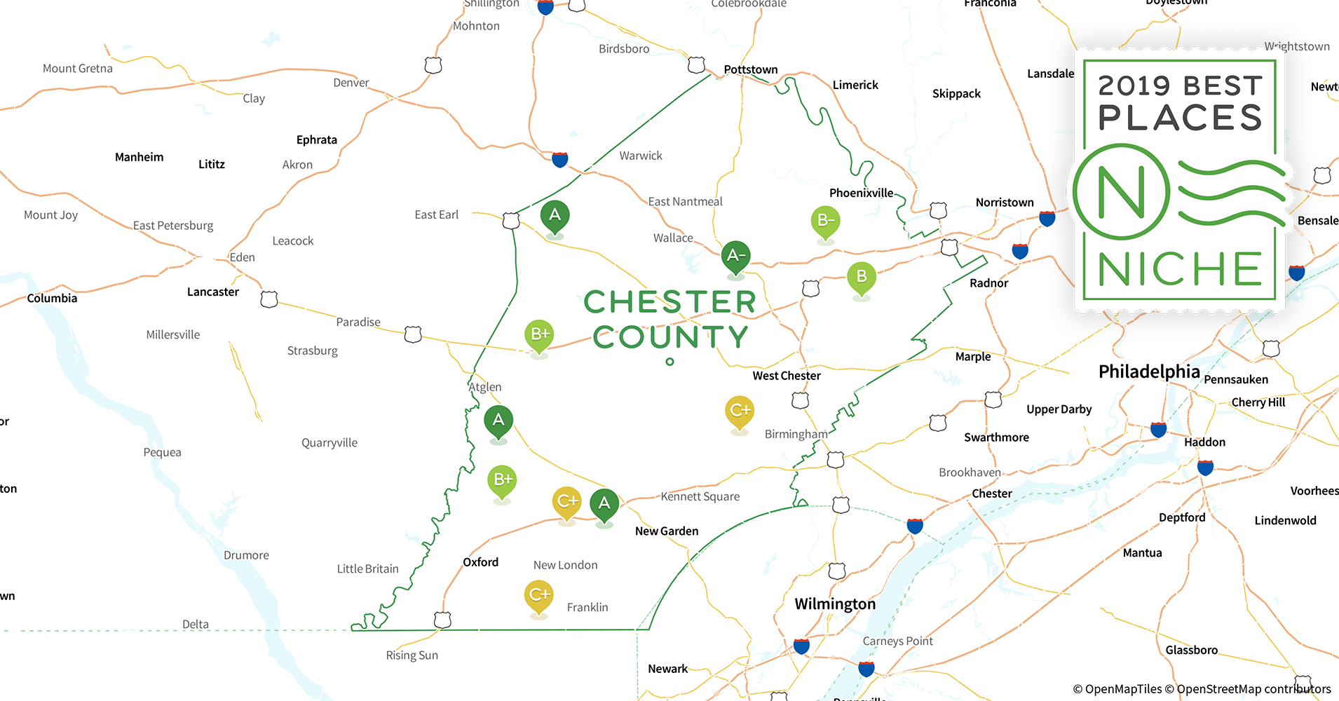 2019 Safe Places to Live in Chester County, PA - Niche Chester County Map on