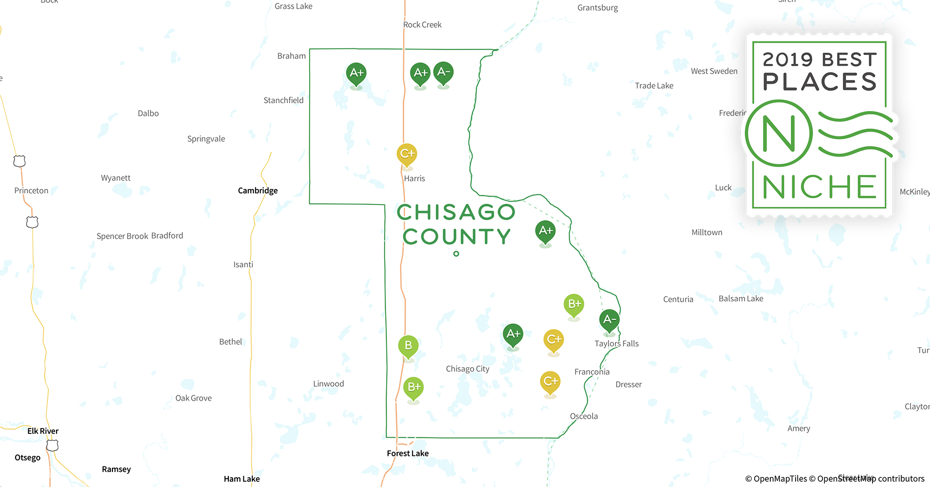 2019 Best Places to Live in Chisago County, MN - Niche Chisago County Map on