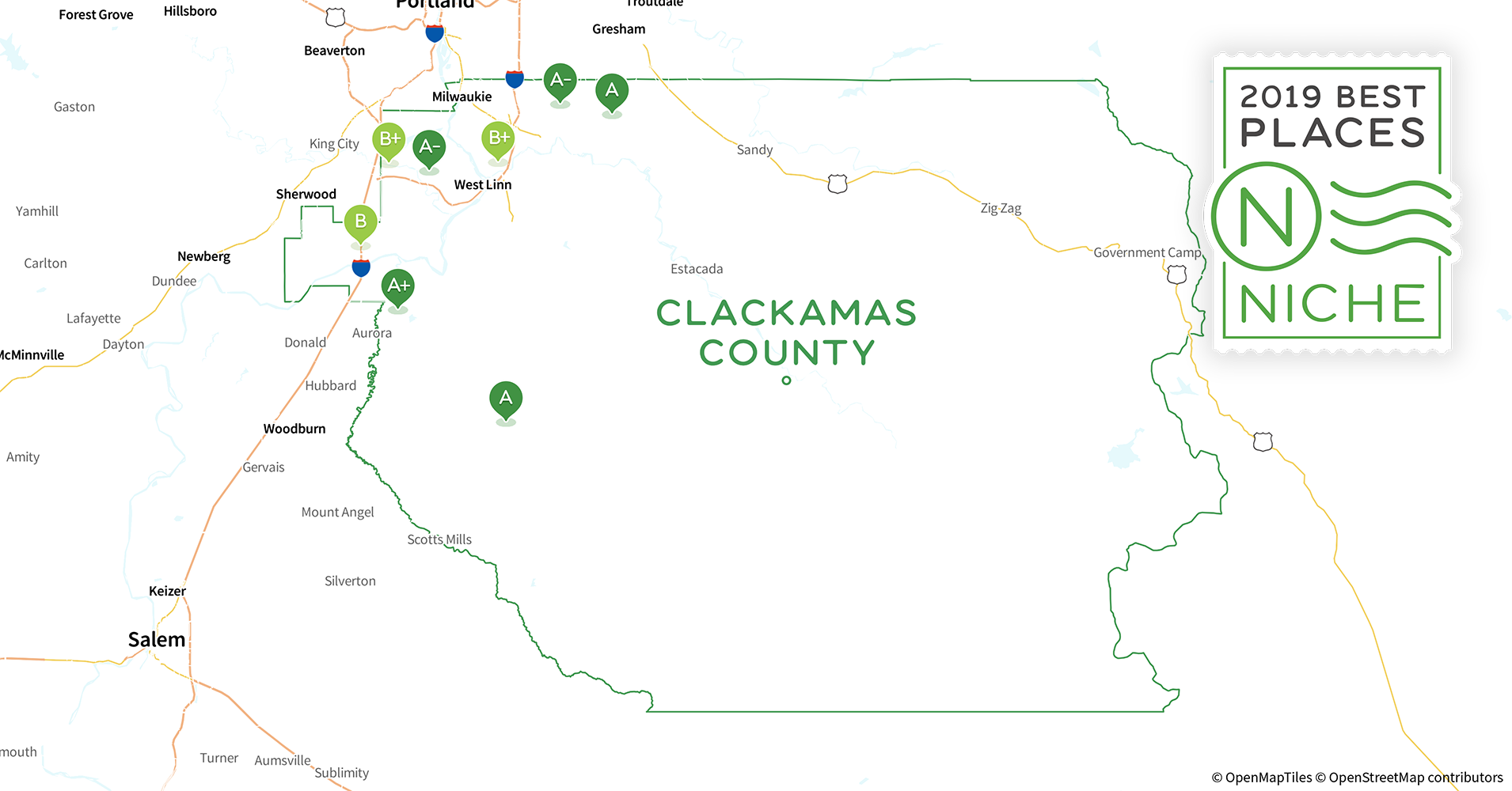 2019 Best Places to Live in Clackamas County, OR - Niche Clackamas Community College Map on