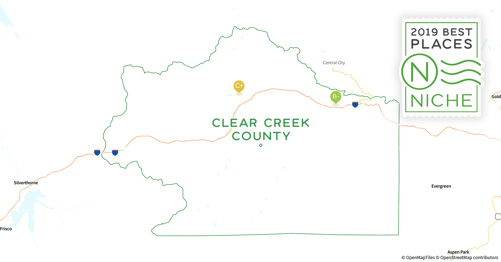 2019 Best Places to Live in Clear Creek County, CO - Niche Map Of Clear Creek County Co on map of lone tree co, map of grand lake co, map of greenwood village co, map of parker co, map of las animas co, map of aspen co, map of idaho springs co, map of rocky mountain national park co, map of glenwood springs co, map of winter park co, map of brighton co, map of littleton co, map of northglenn co, map of wheat ridge co, map of canon city co, map of steamboat springs co, map of central city co, map of silver plume co, map of front range co, map of golden co,