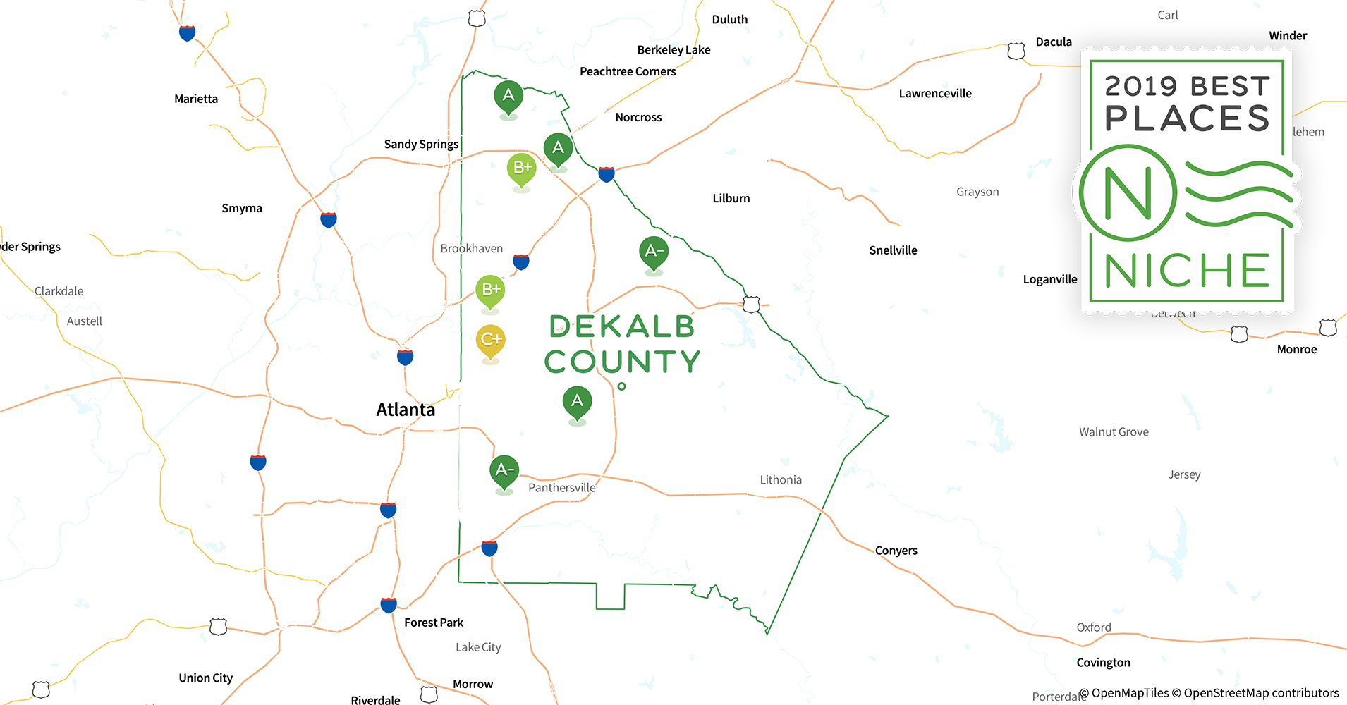 2019 Best Places to Live in DeKalb County, GA - Niche Dekalb County Map on