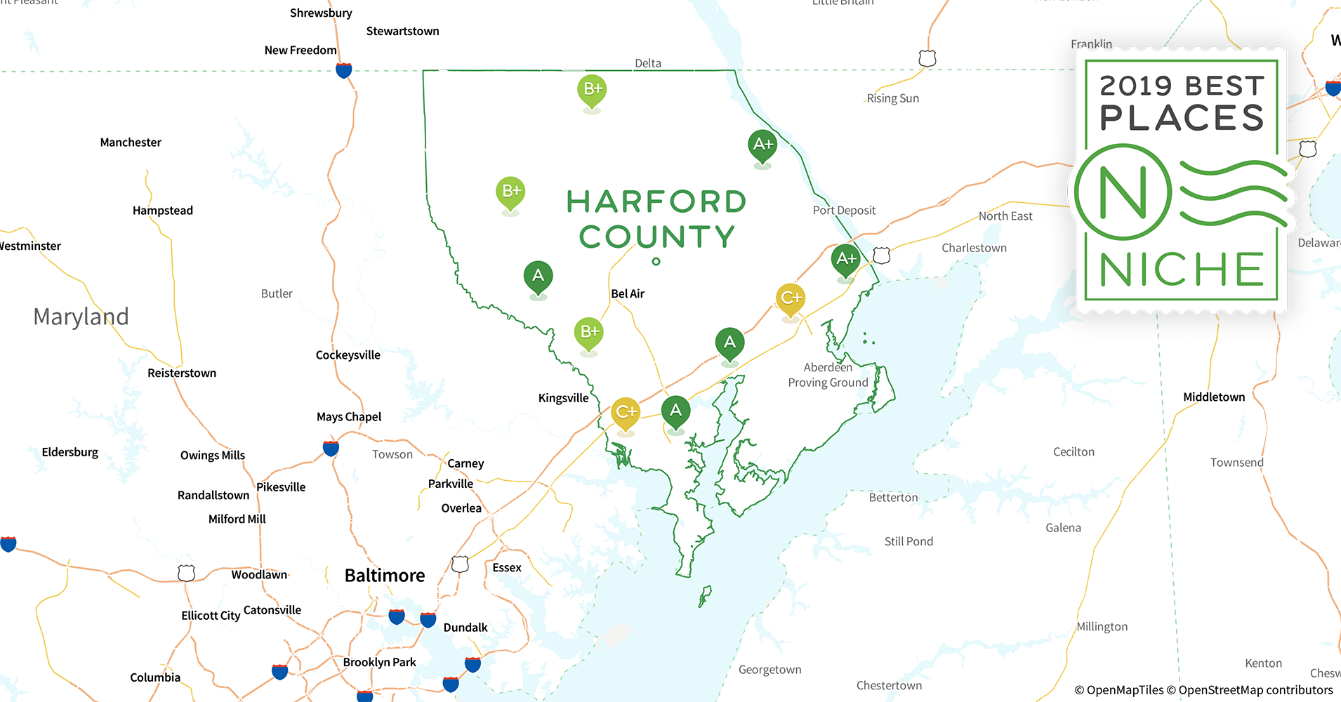 2019 Safe Places to Live in Harford County, MD - Niche Map Of Harford County Md on