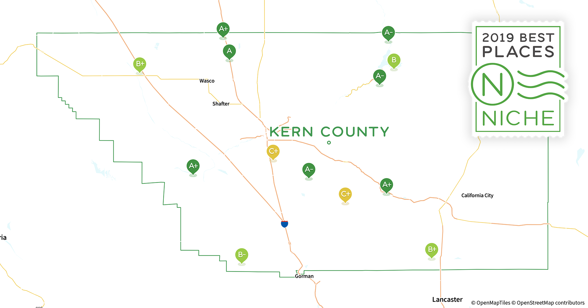 2019 Best Places to Live in Kern County, CA - Niche Kern County Section Map Of California on detailed map of kern county california, topographic regions of california, lines maps of california, gemstone mine map southern california, map of madera county california,