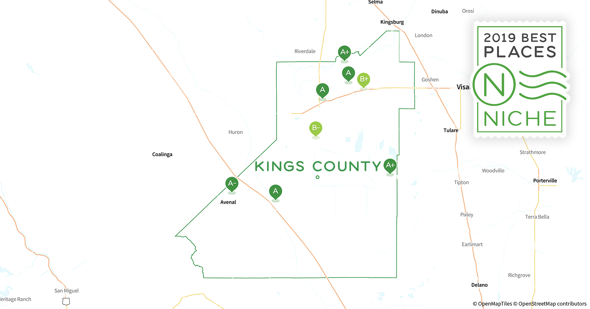 Kings County California Map.2019 Safe Places To Live In Kings County Ca Niche