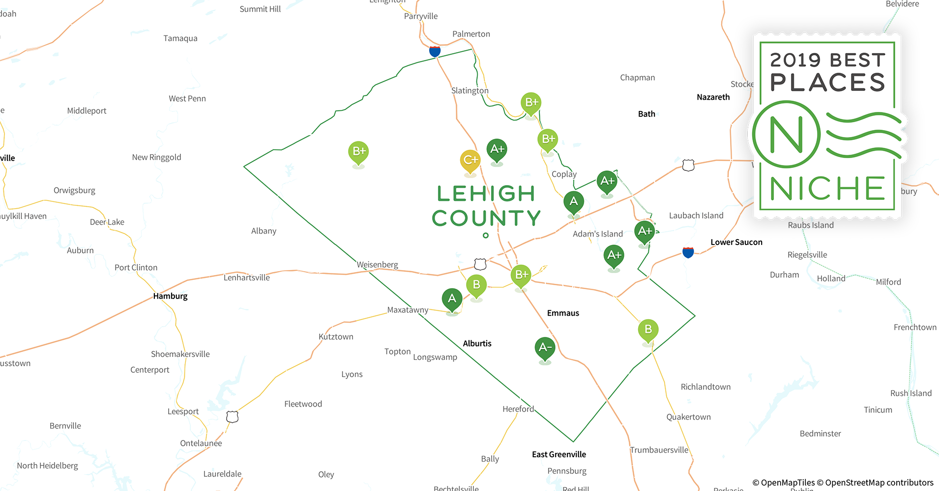 Lehigh Valley Zip Code Map.2019 Safe Places To Live In Lehigh County Pa Niche