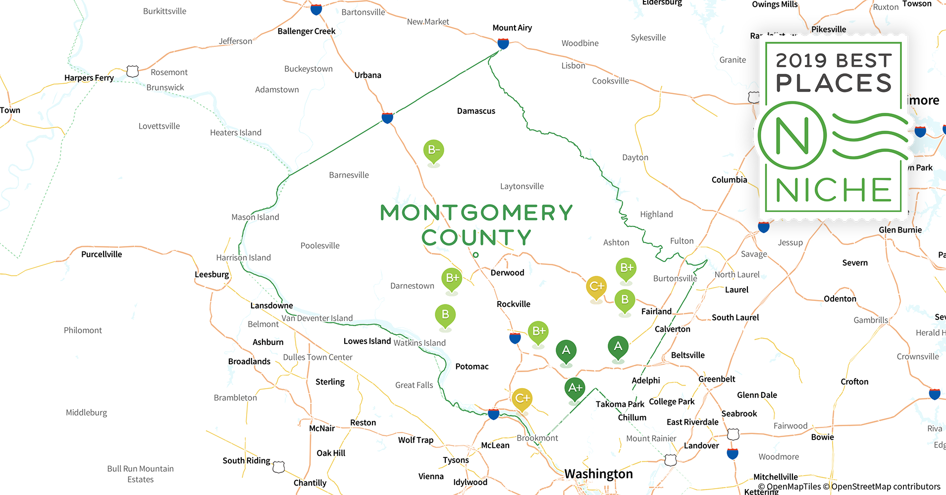 on montgomery county md map