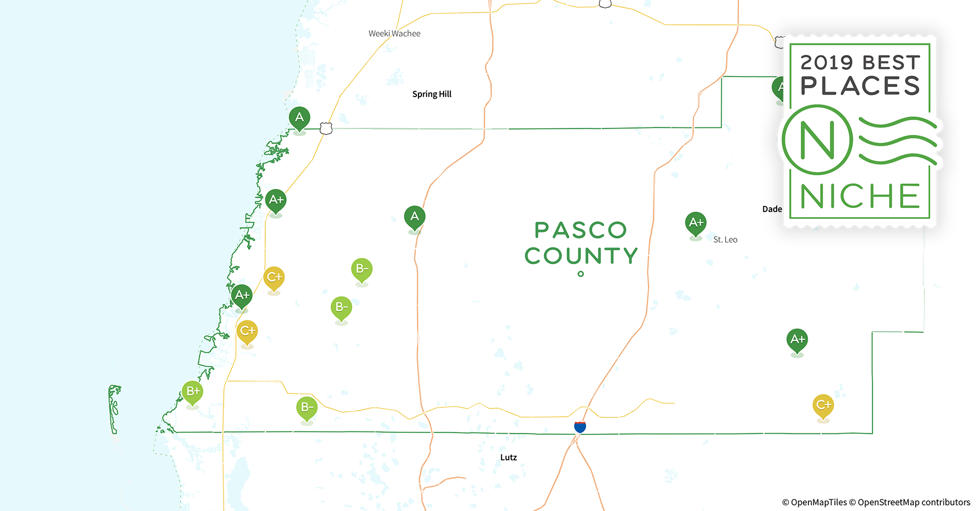 2019 Best Places to Live in Pasco County, FL - Niche Saint Leo Florida Map on bay pines florida map, pensacola florida map, winter haven florida map, quincy florida map, land o lakes florida map, pembroke pines florida map, tallahassee florida map, dunedin florida map, gainesville florida map, largo florida map, west palm beach florida map, miami florida map, port orange florida map, temple terrace florida map, new port richey florida map, fort white florida map, florida fl map, crystal beach florida map, kathleen florida map, raiford florida map,