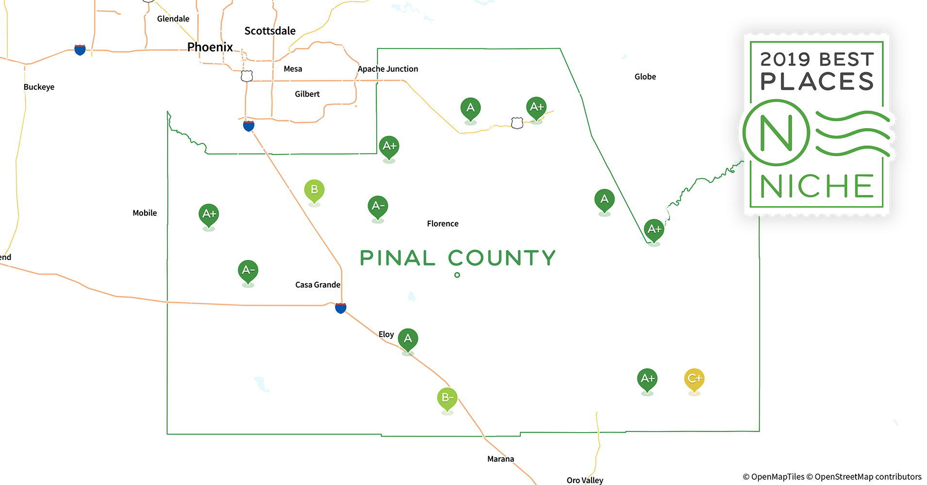 Counties Of Arizona Map.2019 Best Places To Live In Pinal County Az Niche