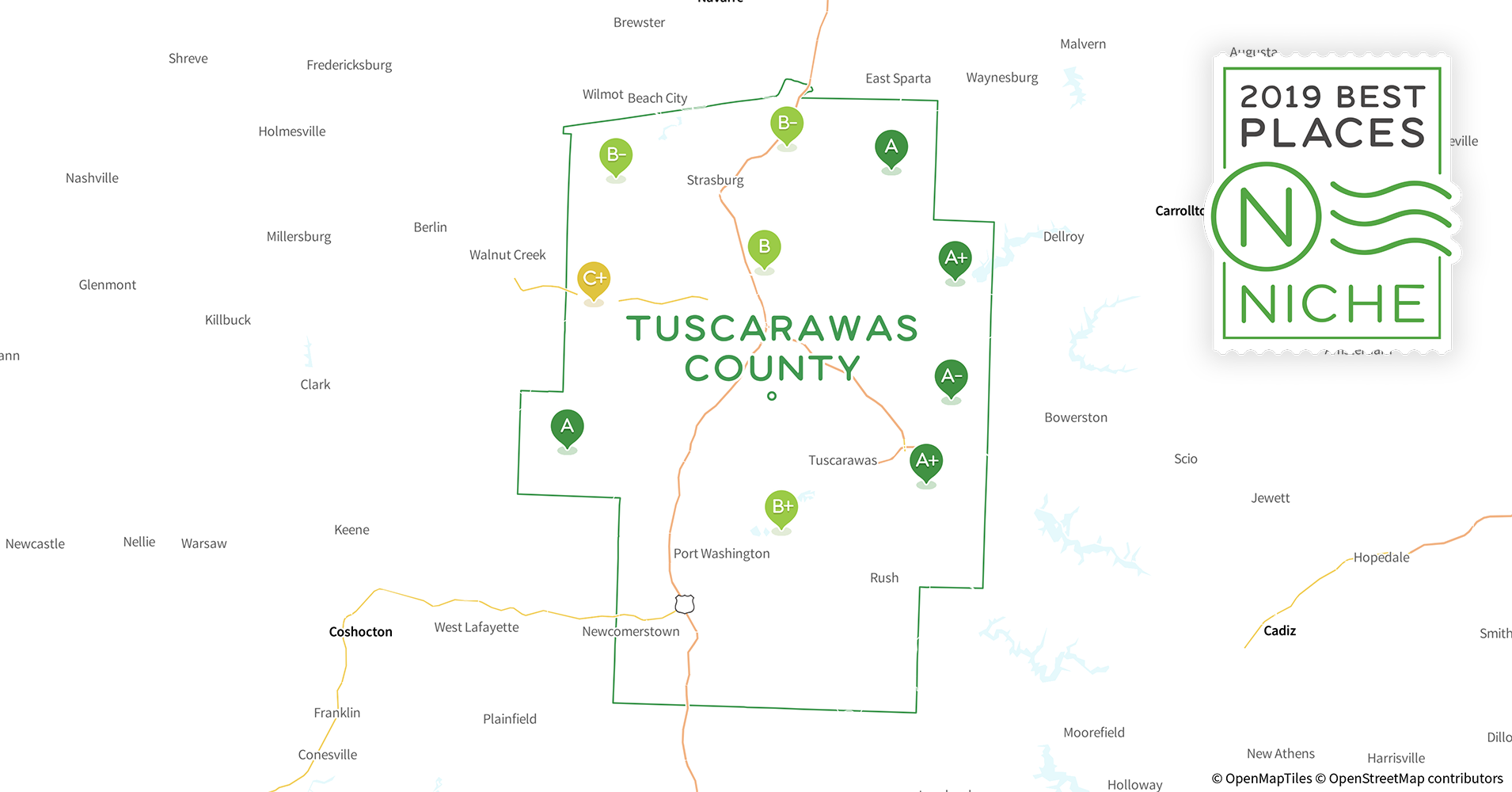 2019 Best Places to Live in Tuscarawas County, OH - Niche Ohio Tuscarawas County Map Roads on newark ohio road map, cleveland ohio road map, dublin ohio road map, north canton ohio road map, dayton ohio road map, marietta ohio road map, ashtabula county township map, ashland ohio road map, tuscarawas county ohio fair, marion ohio road map, ashtabula county road map, youngstown ohio road map, springfield ohio road map, lancaster ohio road map, hudson ohio road map, toledo ohio road map, dover ohio road map, lima ohio road map, cincinnati ohio road map, stark county ohio section map,
