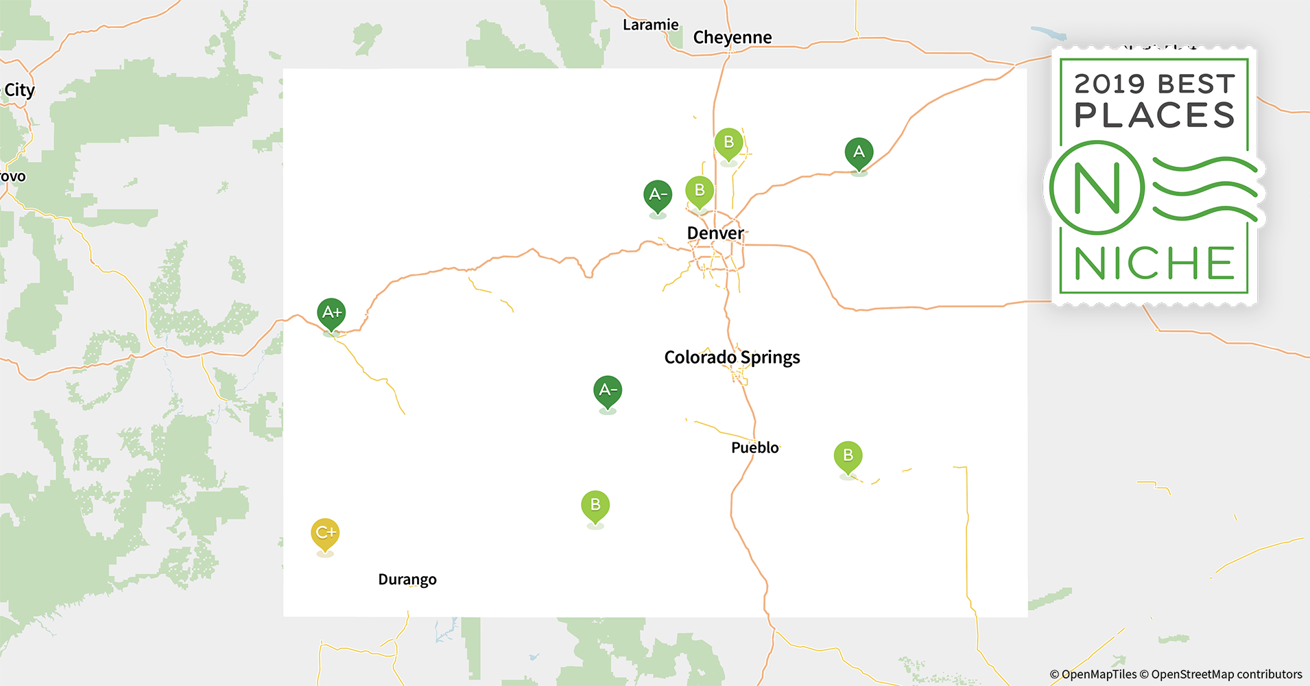 2019 Best Suburbs to Live in Colorado - Niche Denver Suburbs Map on