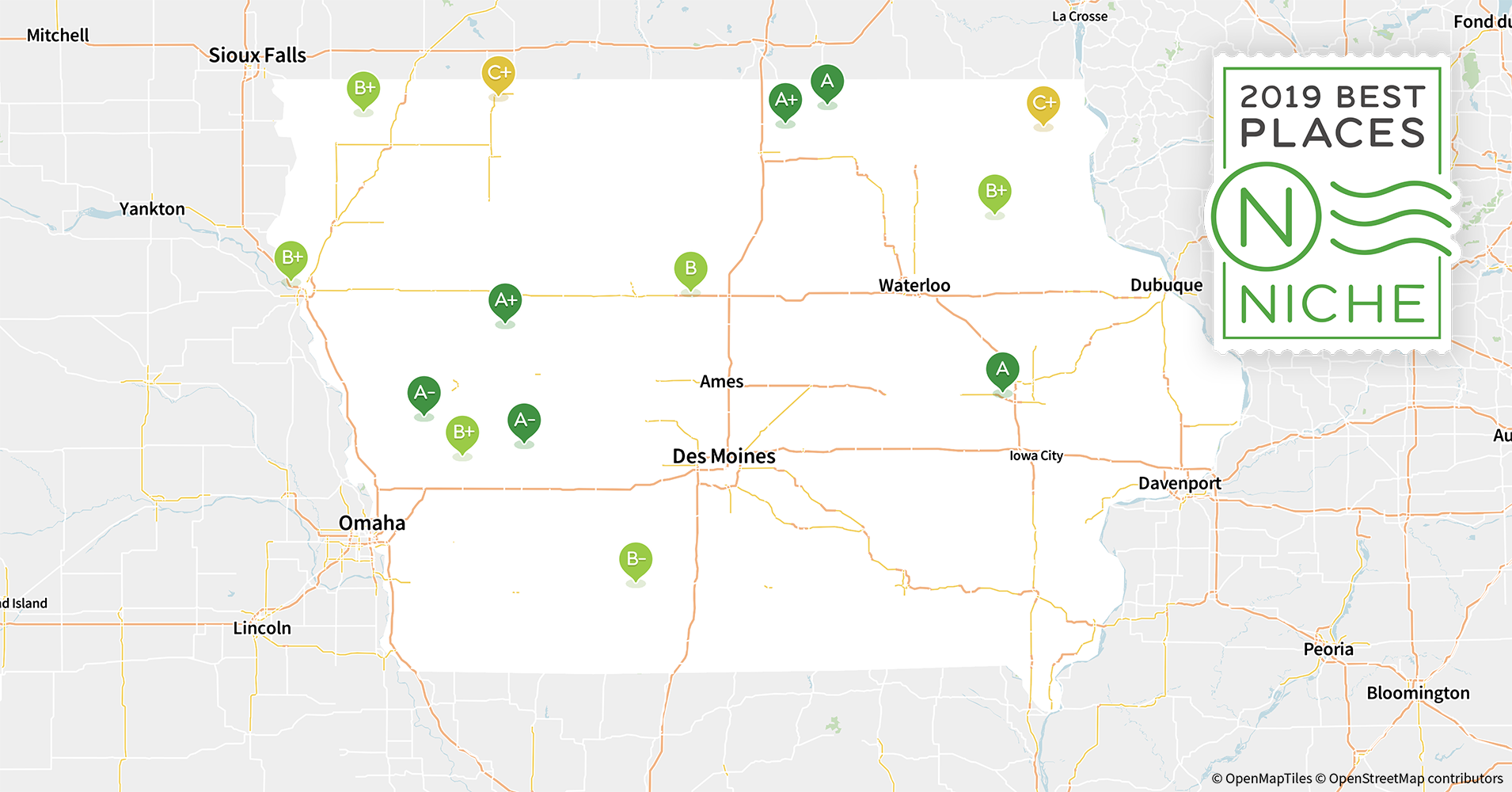 2019 Best Places to Live in Iowa - Niche Cities In Iowa Map on