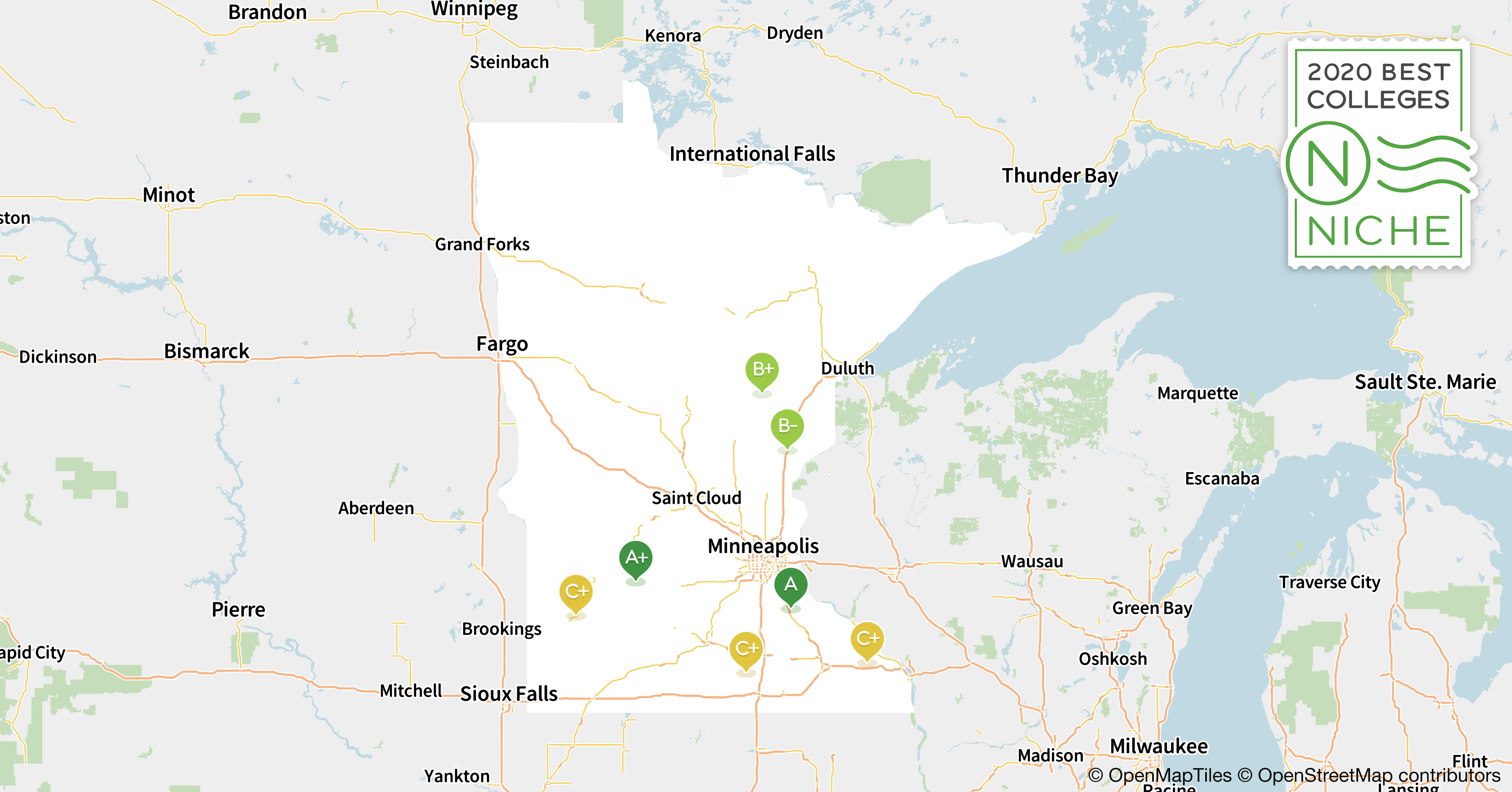2020 Best Colleges in Minnesota - Niche Map Minn on ind map, shakopee map, eagan map, tresure map, london map, plymouth map, wisconsin map, mille lacs lake map, mankato map, hastings map, bloomington map, edina map, blaine mn map, minnesota map, mn highway map, moorhead map, michigan map, texas map, minneapolis map, mich map,