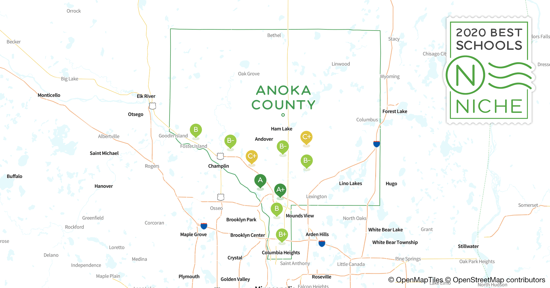 2020 Best Public Elementary s in Anoka County, MN - Niche Map Of Anoka County on map of minnesota, map of metropolitan state university, map of st. cloud, map of mankato, map of hamline university, map of medtronic, map of metro blue line, map of blaine, map of cedar, map of burnsville, map of spring lake park, map hennepin county, map of north hennepin community college, map of maple grove, map minnesota county, map of mound, map of national sports center, map of downtown anoka mn, map of coon creek, map of lindstrom,