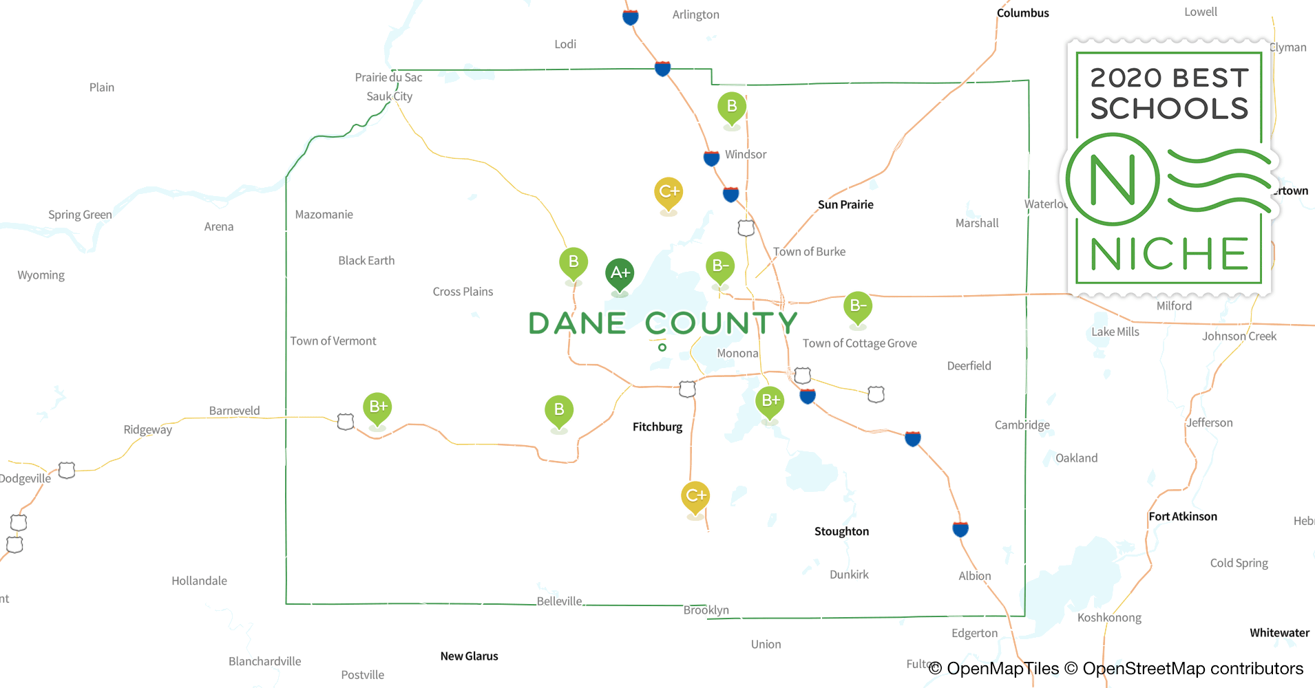 Districts in Dane County, WI - Niche on map of peninsula state park wi, map of castle rock lake wi, map of lakewood wi, map of black river falls wi, map of apostle islands wi, map of city of madison wi, map of liberty grove wi, map of beloit wi, map of racine wi, map of green bay wi, map of washington island wi, map of algoma wi, map of baileys harbor wi, map of jacksonport wi, map of wisconsin, map of the fox valley wi, map of menomonie wi, map of ohio by county, map of de soto wi,