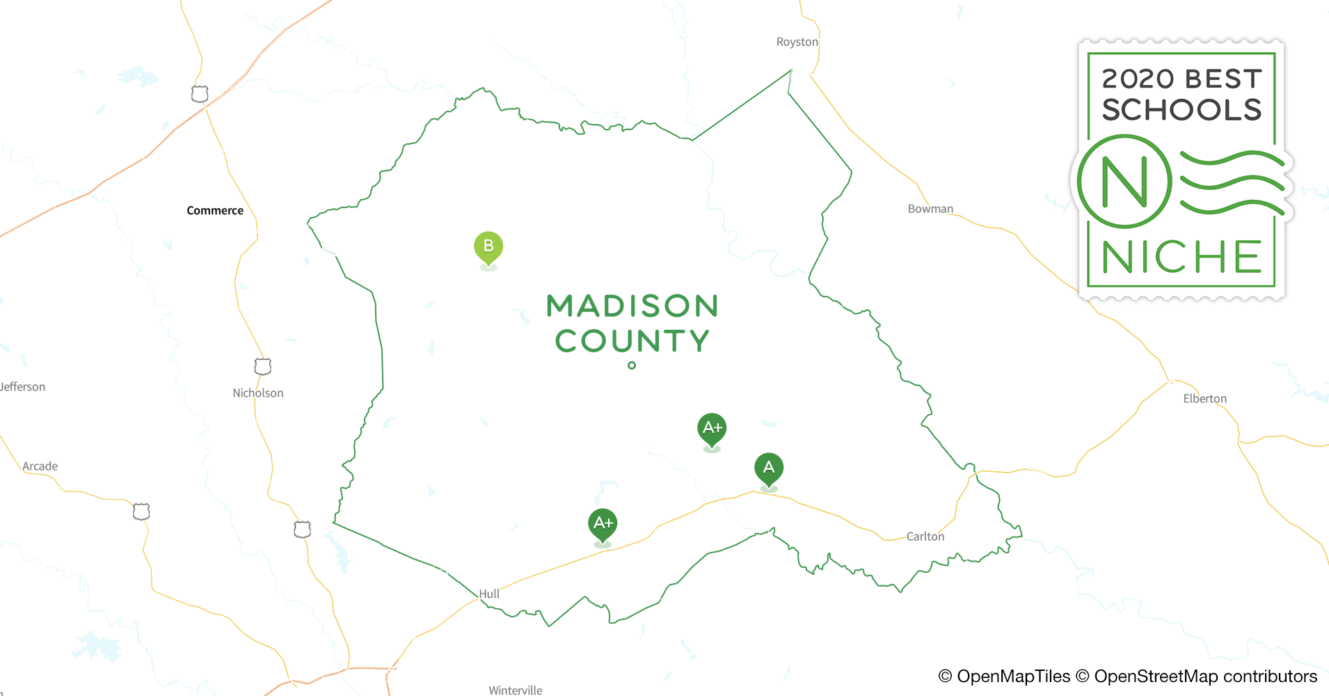 2020 Best Public Elementary s in Madison County, GA ... Madison County Ga Map on barton county ga map, jenkins county ga map, charleston county ga map, social circle county ga map, eden county ga map, section ga map, north forsyth ga map, missouri county map, jeff davis county ga map, athens clarke county georgia map, danielsville ga map, hartselle ga map, irwin county ga map, hull ga map, blue mountain ga map, cherokee county georgia gold mine map, grayson county ga map, union county ga map, pierce ga map, madison co ga map,