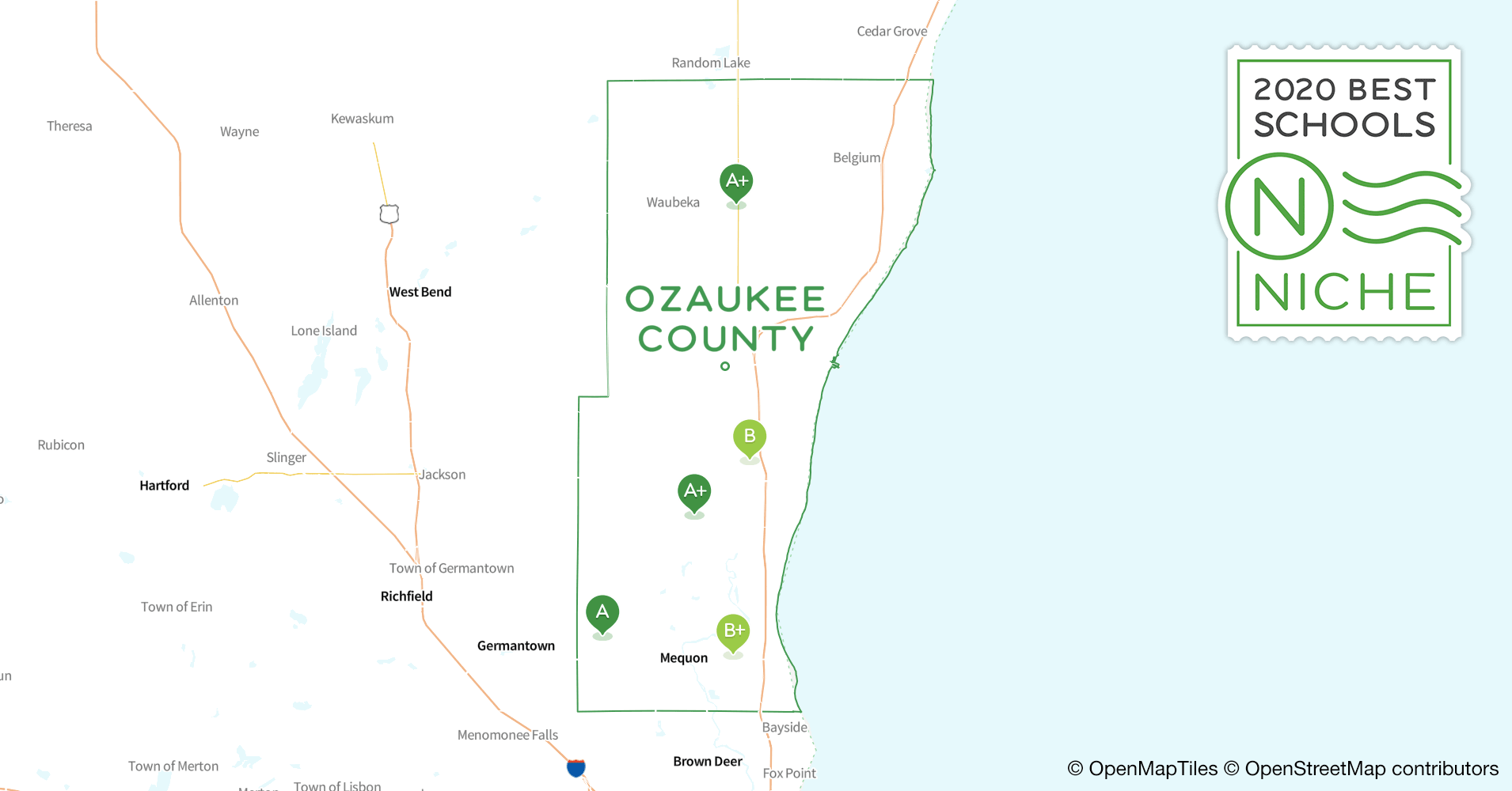 Districts in Ozaukee County, WI - Niche on map of shorewood, map of greendale, map of wausau, map of menomonee falls, map of lake geneva, map of superior, map of pewaukee, map of elm grove, map of belgium, map of mukwonago, map of fox point, map of eau claire,