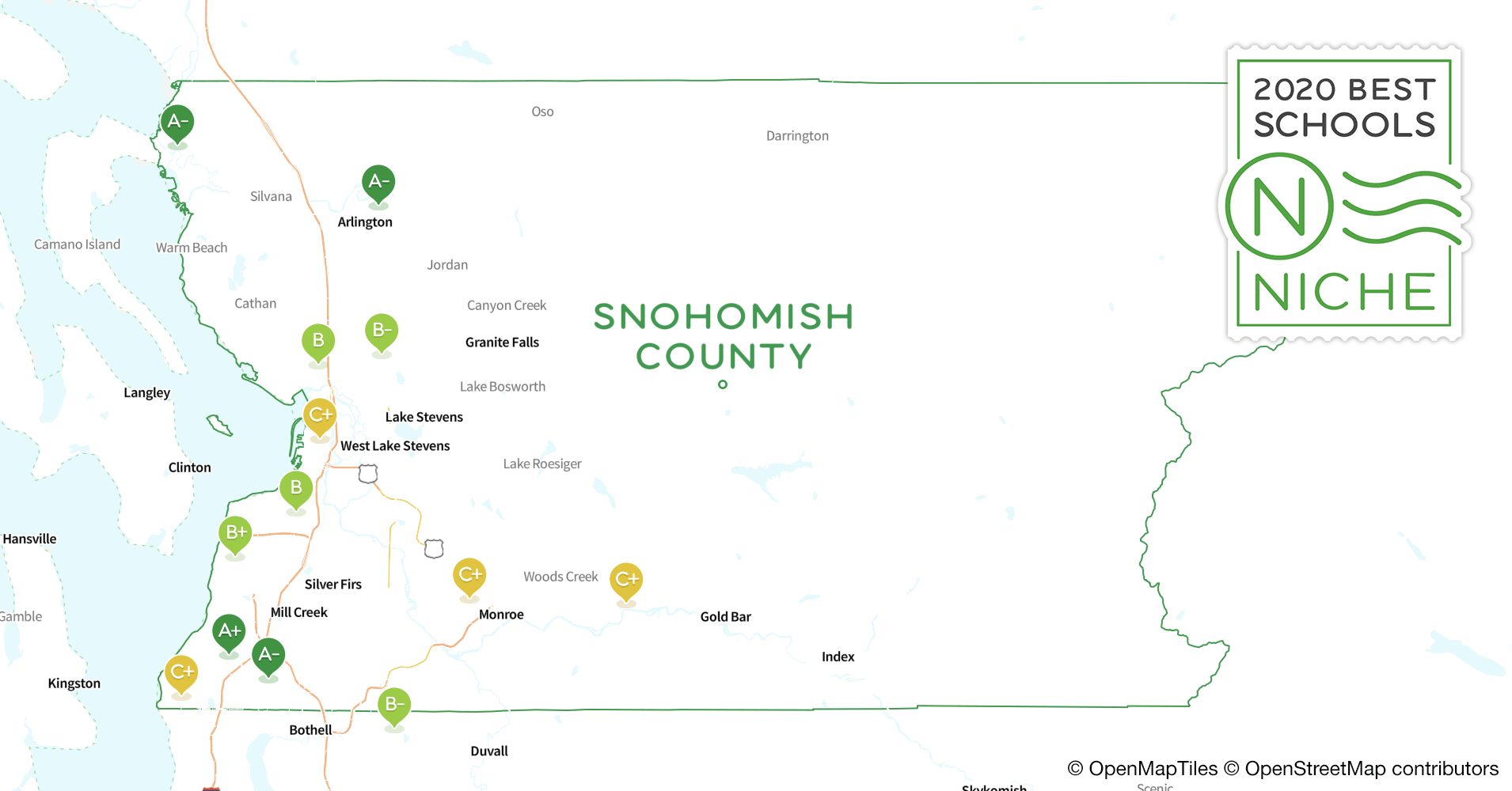 2020 Best Public High s in Snohomish County, WA - Niche Snohomish County Map on jefferson county map, king county map, snohomish wa, city of marysville map, whatcom county map, everett map, kitsap county map, dayton county map, riley county ks map, pierce county map, washington map, mount vernon map, deer park county map, skagit county map, clark county map, bothell map, chelan county map, thurston county map, saint paul county map, seattle map,