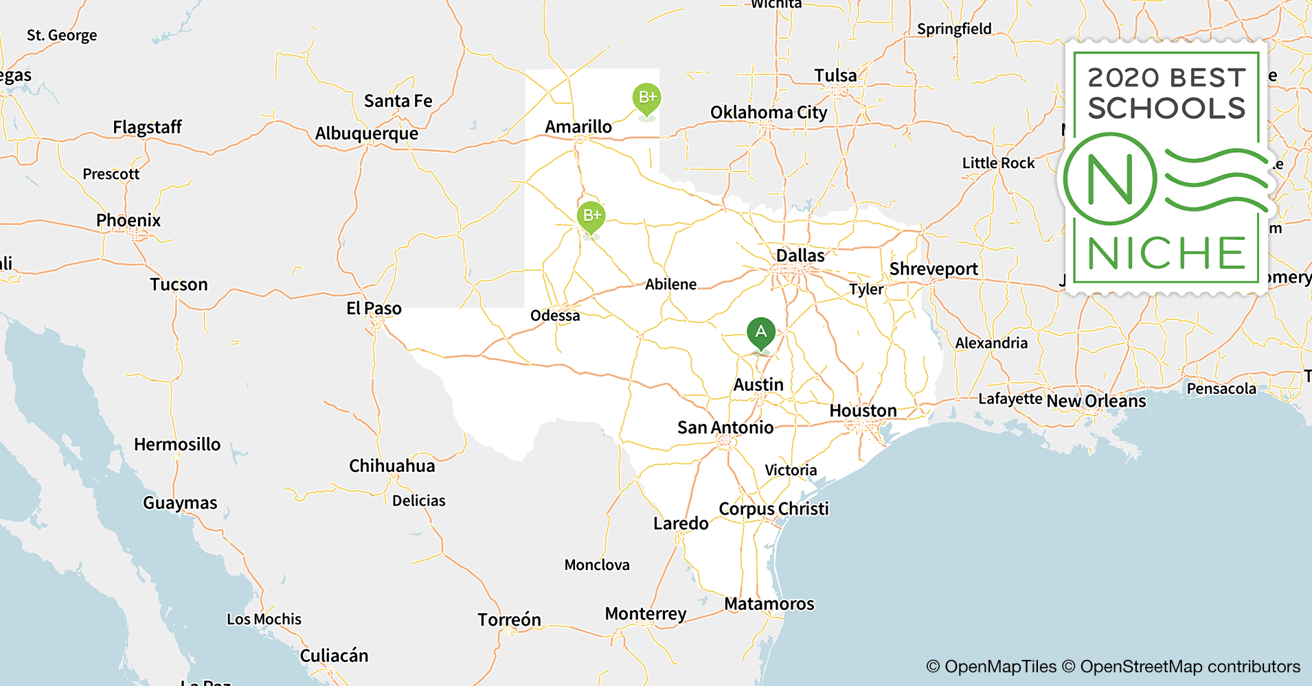 Map Of Central Texas Cities.2020 Best School Districts In Texas Niche