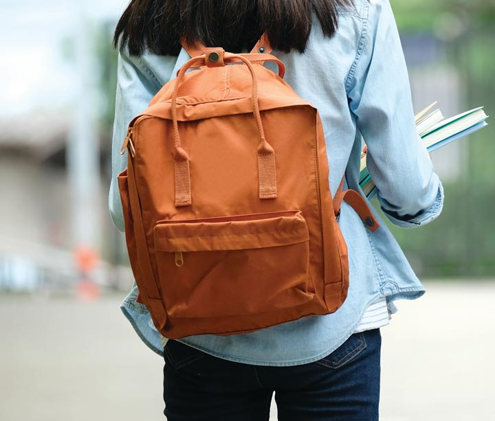Student wearing backpack