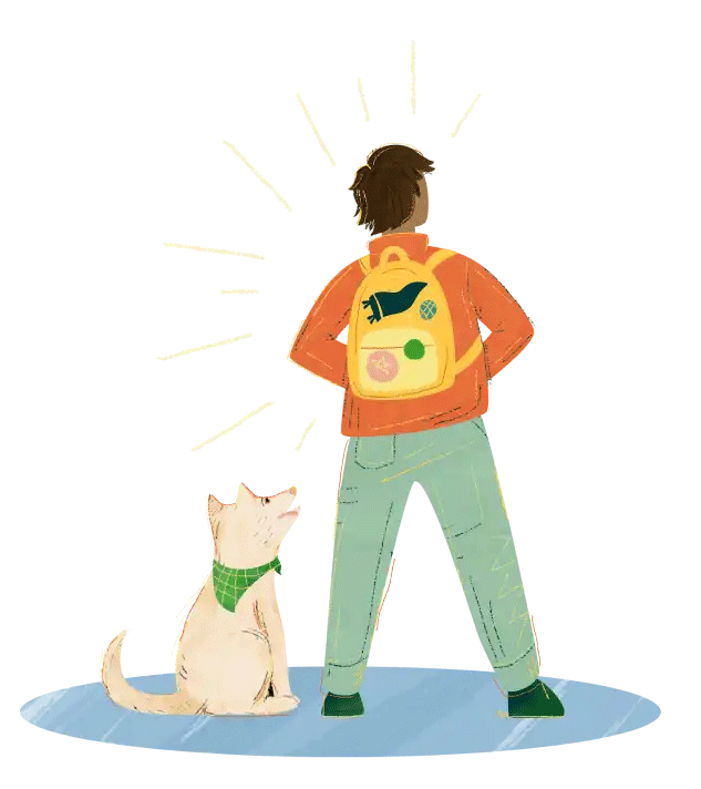 Illustration of a student and dog looking to the future